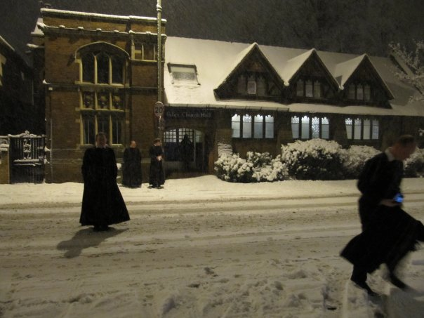 The Oxford Oratorians play with snow - is this practice for the Pentathlon?