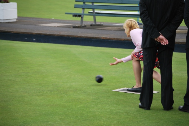 Sylvia, Lady Hermon throws the first bowl at Bangor Bowls Tournament 2011