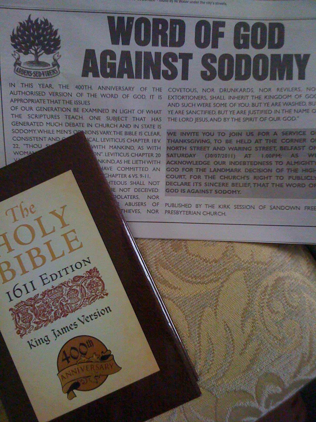 Photo of advertisement in Belfast News against Sodomy