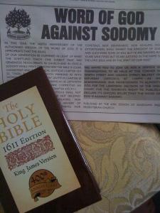 Photo of advertisement in Belfast News against Sodomy