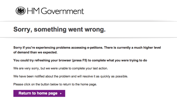 Screen shot of HM Government e-petition website error message