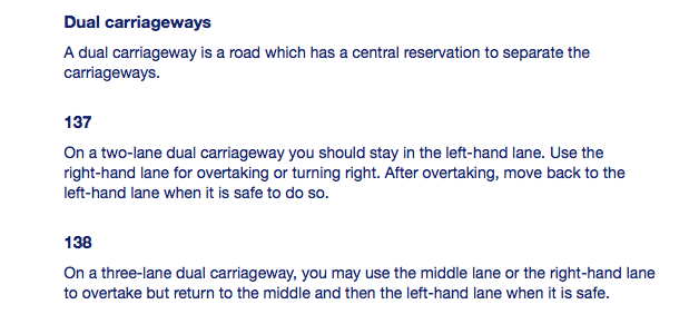 Highway Code for Northern Ireland Sections 137 & 138