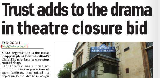 Trust adds to the drama in theatre closure - Bedfordshire on Sunday