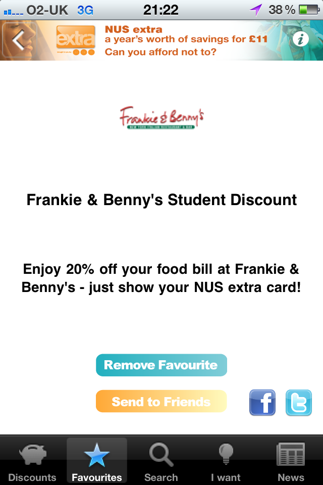 Frankie & Benny's discount page on NUS Extra iPhone App