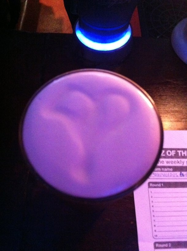 The heart in the Guinness on Valentine's Day!