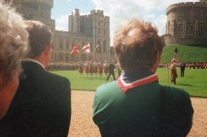 A photograph of the Colour Party at the National Scout Parade, Windsor Castle, 1998