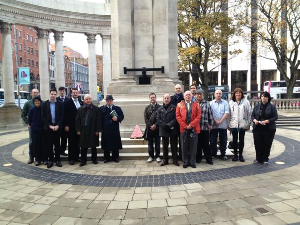 Those present when a pink triangle wreath was laid at the Cenotaph, Belfast.