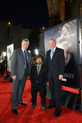 First Minister Peter Robinson and deputy First Minister Martin McGuinness are pictured at last month's launch of 'Game of Thrones' at the Chinese Theatre in Hollywood Boulevard with actor Peter Dinklage who plays Tyrion Lannister in Game of Thrones. Photo: Kevin Boyes / Press Eye. from NIExecutive on Flickr.