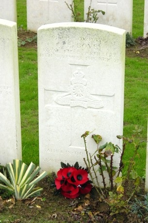 The grave of my great great uncle, Cpl John E. Bovey, Royal Field Artillery, in the British Cemetery, Brebières, Photo: Stephen Rawles.